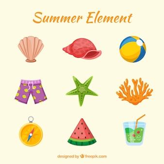 Conjunto de elementos de verão com comida e roupas em estilo simples