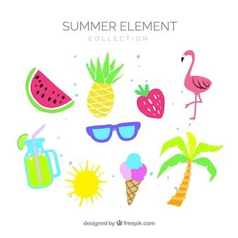 Conjunto de elementos de verão com frutas e comida em estilo simples