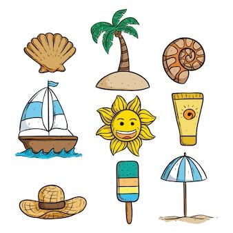Conjunto de elementos de verão com sol, sorvete, coqueiro, barco e concha