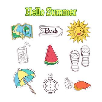Conjunto de elementos de verão doodle ou elementos com texto de verão olá