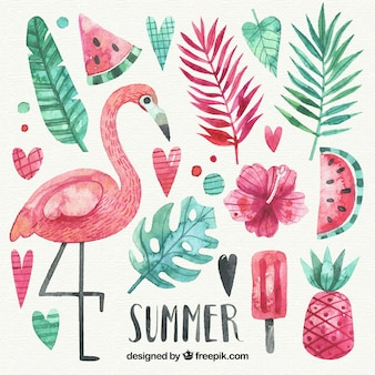 Conjunto de elementos de verão em estilo aquarela