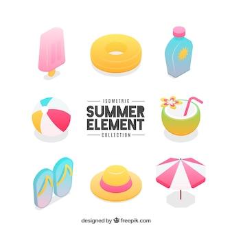 Conjunto de elementos de verão em estilo isométrico
