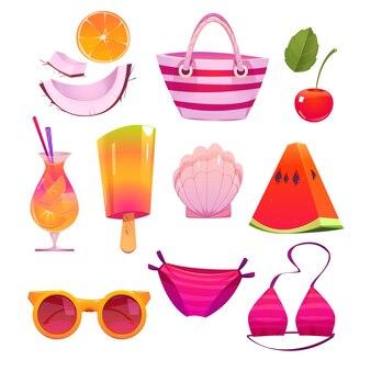 Conjunto de elementos de verão fofo