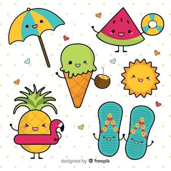 Conjunto de elementos de verão kawaii