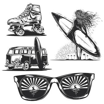 Conjunto de elementos de verão (menina com prancha, óculos de sol, carro etc.)