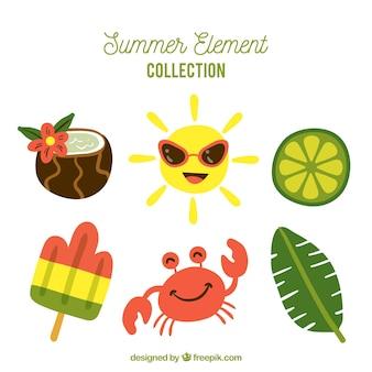 Conjunto de elementos de verão na mão desenhada estilo