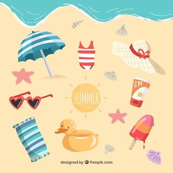 Conjunto de elementos de verão na praia