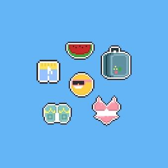 Conjunto de elementos de verão pixecl dos desenhos animados