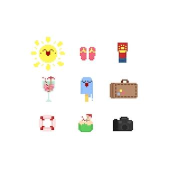 Conjunto de elementos de verão pixel