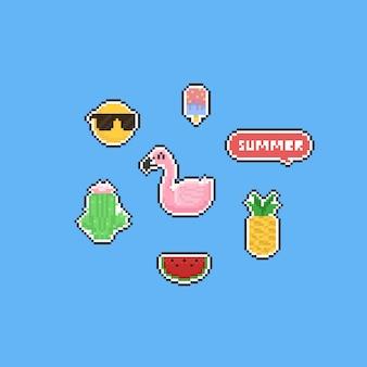 Conjunto de elementos de verão pixel.
