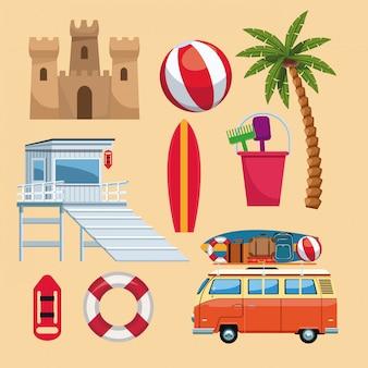 Conjunto de elementos de verão vector design gráfico ilustração