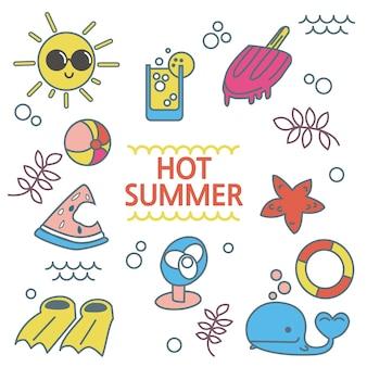 Conjunto de elementos de verão
