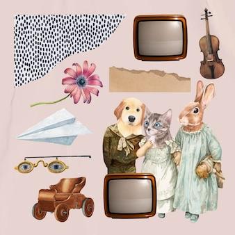 Conjunto de elementos de vetor estético de colagem vintage, arte de mídia mista de colagem de ilustração