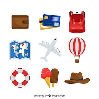 Conjunto de elementos de viagem com design plano