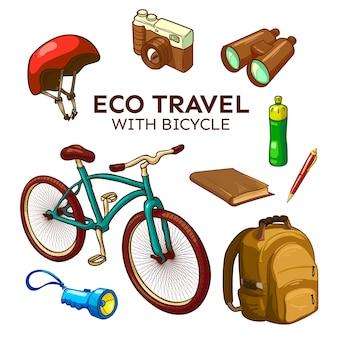 Conjunto de elementos de viagem de bicicleta ecológica