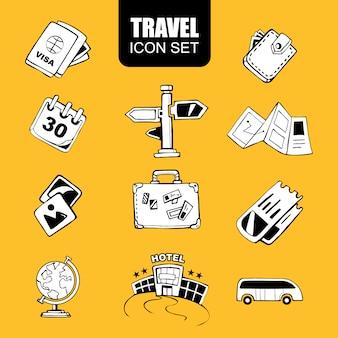 Conjunto de elementos de viagem desenhada de mão