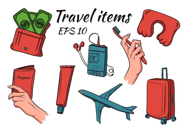 Conjunto de elementos de viagem e acampamento