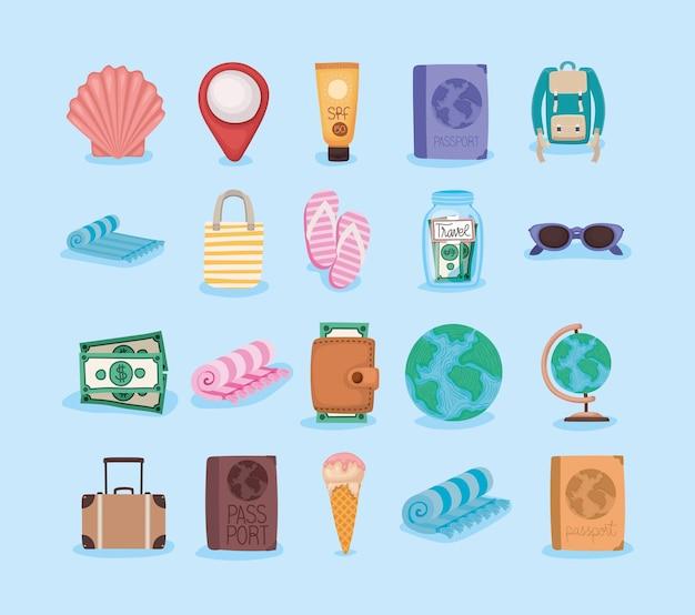 Conjunto de elementos de viagem