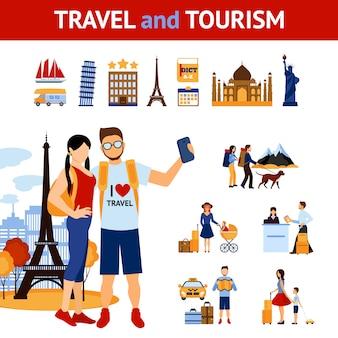 Conjunto de elementos de viagens e turismo