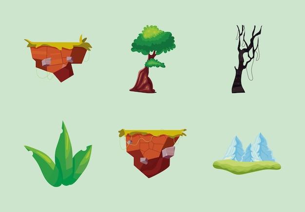 Conjunto de elementos de videogame