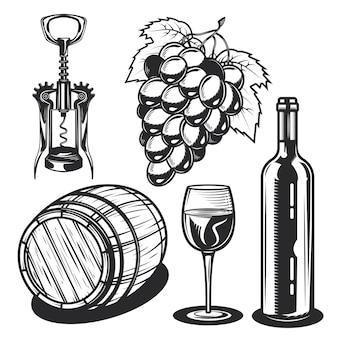 Conjunto de elementos de vinho