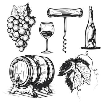 Conjunto de elementos de vinificação (barril, uvas, garrafa etc.)