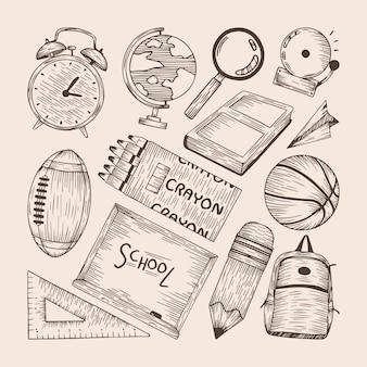 Conjunto de elementos de volta à escola desenhados à mão