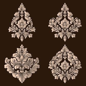 Conjunto de elementos decorativos adamascados