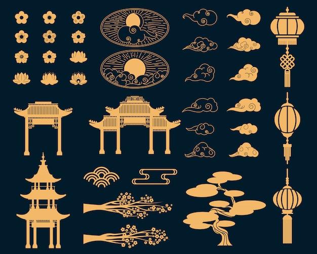 Conjunto de elementos decorativos asiáticos