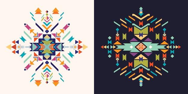 Conjunto de elementos decorativos astecas,
