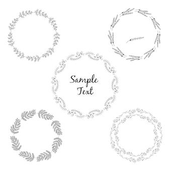 Conjunto de elementos decorativos circulares desenhados a mão.