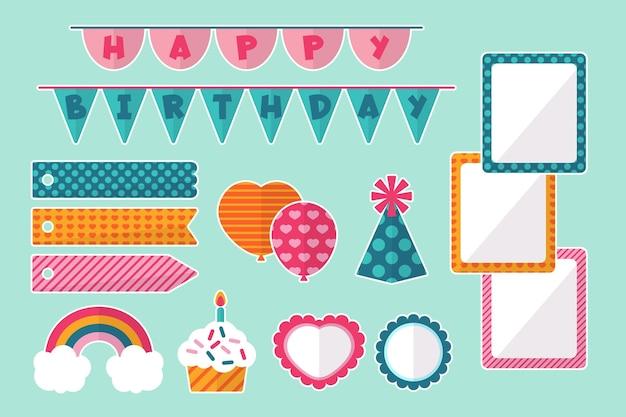 Conjunto de elementos decorativos de álbum de recortes de aniversário