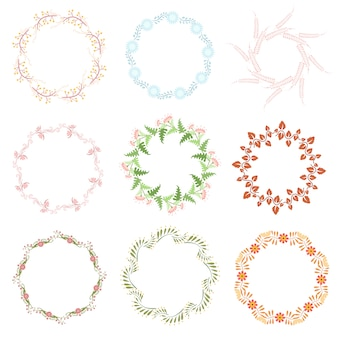 Conjunto de elementos decorativos de arte de linha