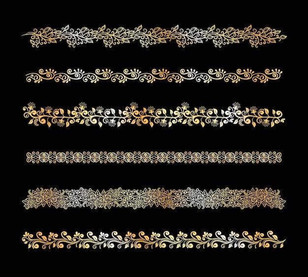 Conjunto de elementos decorativos de borda floral em branco com flores e folhas de videiras caligráficas de rolagem intrincada com cinco padrões diferentes em larguras diferentes