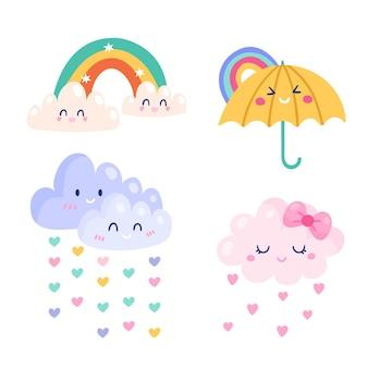 Conjunto de elementos decorativos de chuva de amor desenhados