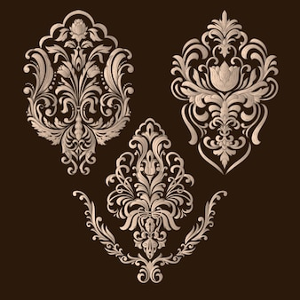 Conjunto de elementos decorativos de damasco. elementos abstratos florais elegantes para o projeto.