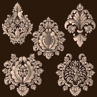 Conjunto de elementos decorativos de damasco. elementos abstratos florais elegantes.