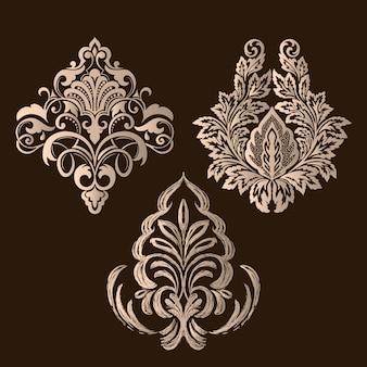 Conjunto de elementos decorativos de damasco. elementos florais elegantes.