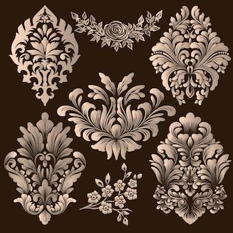 Conjunto de elementos decorativos de damasco.