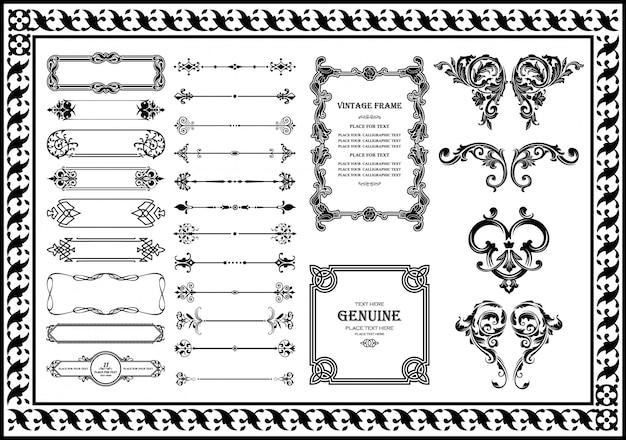 Conjunto de elementos decorativos de fronteiras vintage