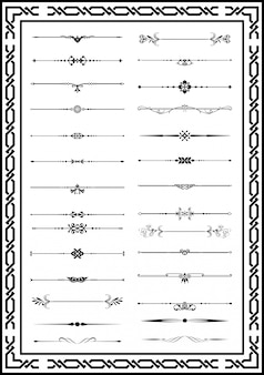 Conjunto de elementos decorativos de mão desenhada