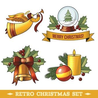 Conjunto de elementos decorativos de natal retrô