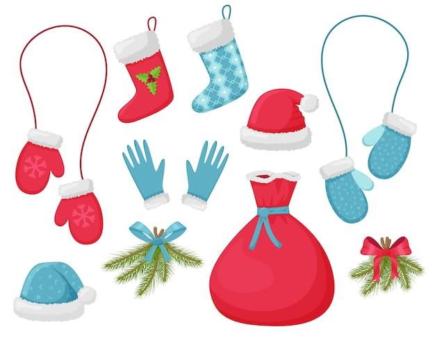 Conjunto de elementos decorativos de natal.