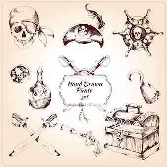Conjunto de elementos decorativos de piratas