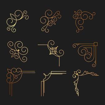 Conjunto de elementos decorativos desenhados à mão, borda, quadro com elementos florais para design em estilo vintage