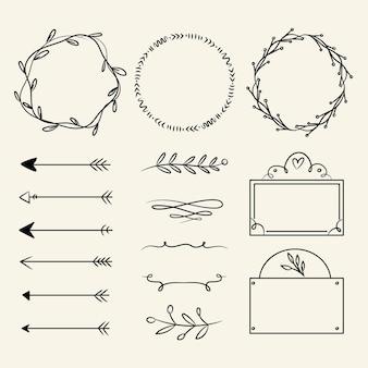Conjunto de elementos decorativos desenhados à mão Vetor grátis