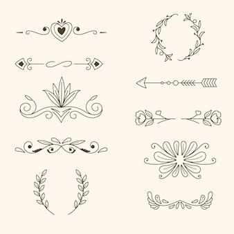 Conjunto de elementos decorativos desenhados à mão