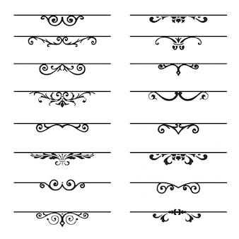 Conjunto de elementos decorativos floridos.
