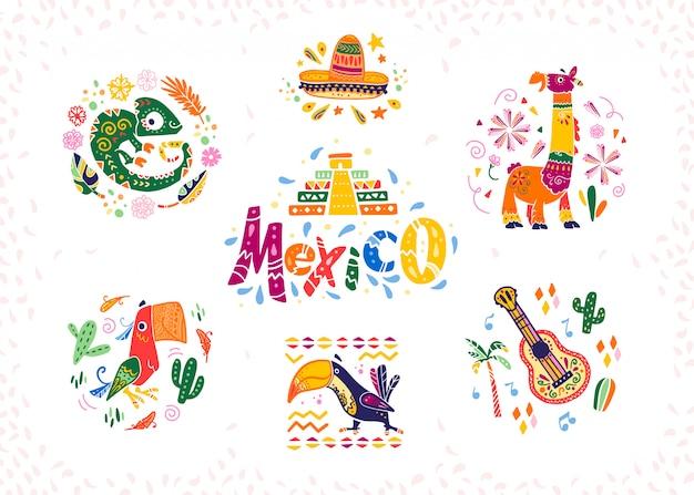Conjunto de elementos decorativos mexicanos de mão desenhada