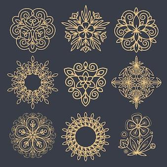 Conjunto de elementos decorativos para criar um logotipo.
